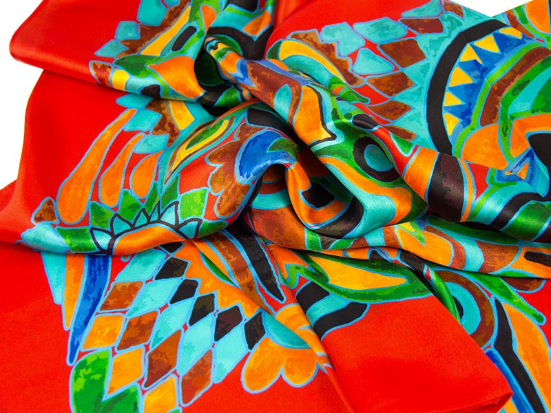 apaszka jedwabna OLIV-SCARF -RED-BLUE