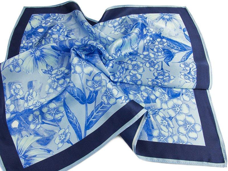 Apaszka jedwabna Flower-blue