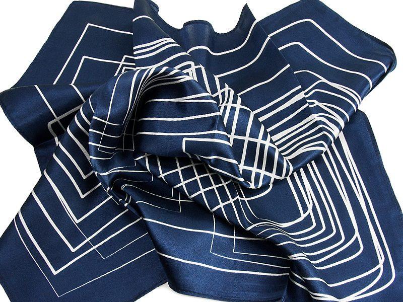 Apaszka jedwabna STRIPES-BLUE