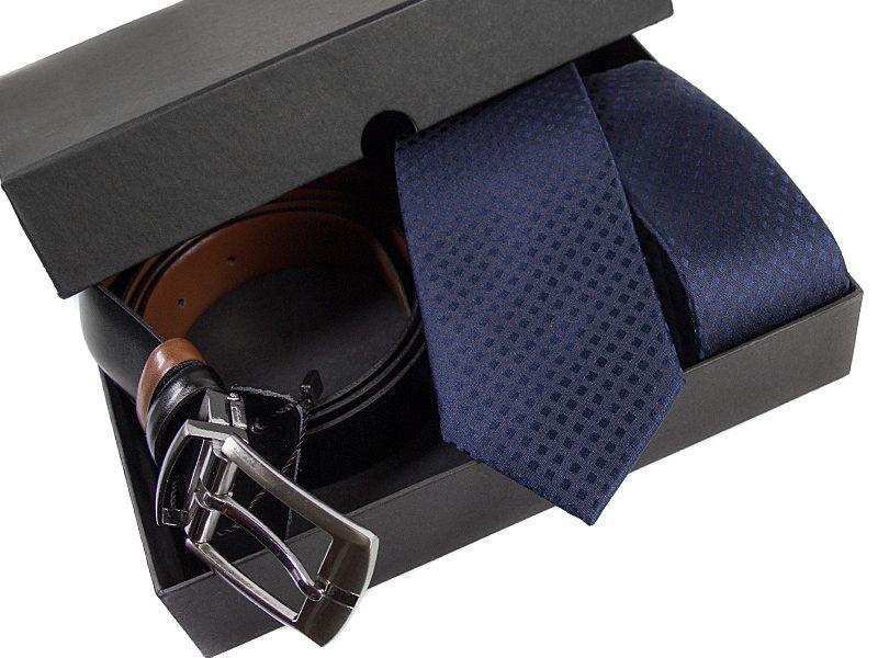 Zestaw upominkowy P520: Krawat jedwabny+ pasek skóra