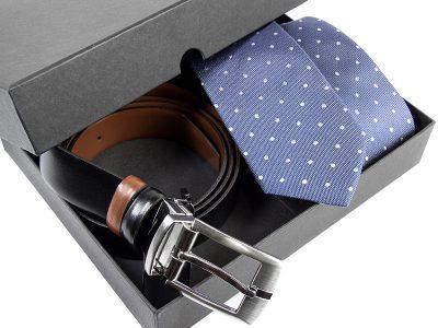 Zestaw upominkowy P525: Krawat jedwabny+ pasek skóra