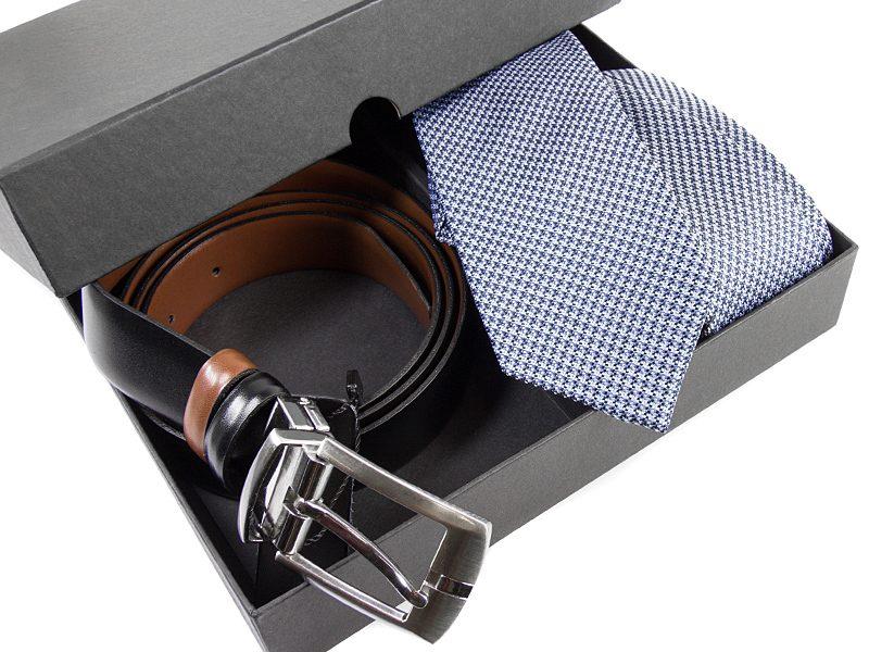 Zestaw upominkowy P526: Krawat jedwabny+ pasek skóra