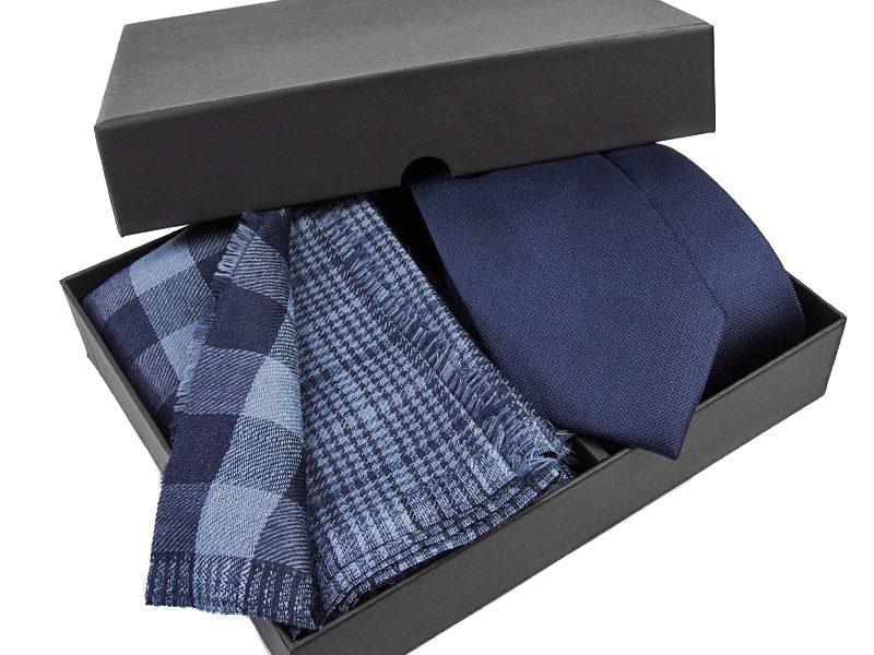 Zestaw upominkowy19: Szal wełniany+ Krawat jedwabny