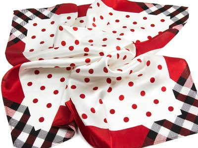 Apaszka jedwabna DOTS-TOP-RED