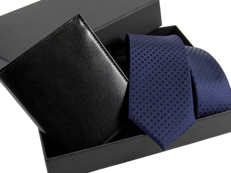 zestaw Krawat 520 + portfel skorzany