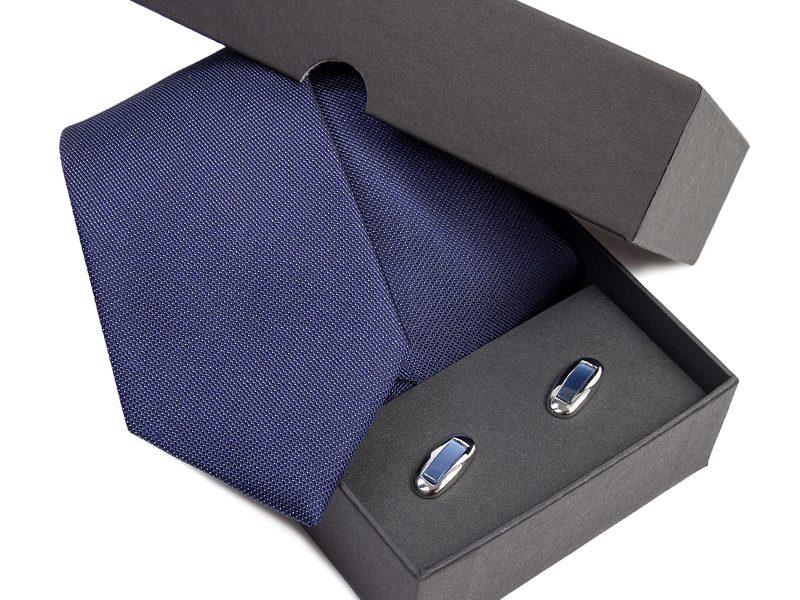 Zestaw upominkowy: Krawat jedwabny Venzo + spinki do mankietów zapakowane w eleganckie opakowanie kartonowe 491
