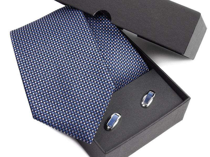 Zestaw upominkowy: Krawat jedwabny Venzo + spinki do mankietów zapakowane w eleganckie opakowanie kartonowe s497