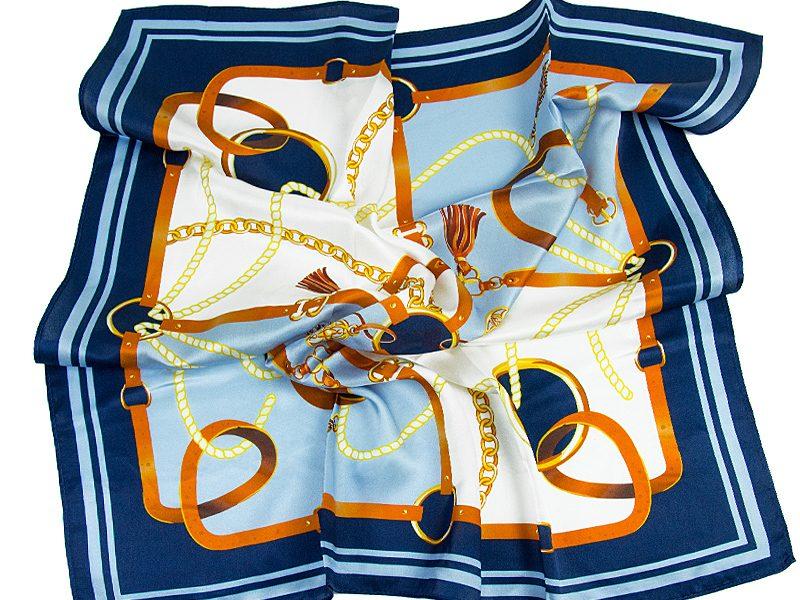 apaszka jedwabna BELTS-BLUE-SCARF