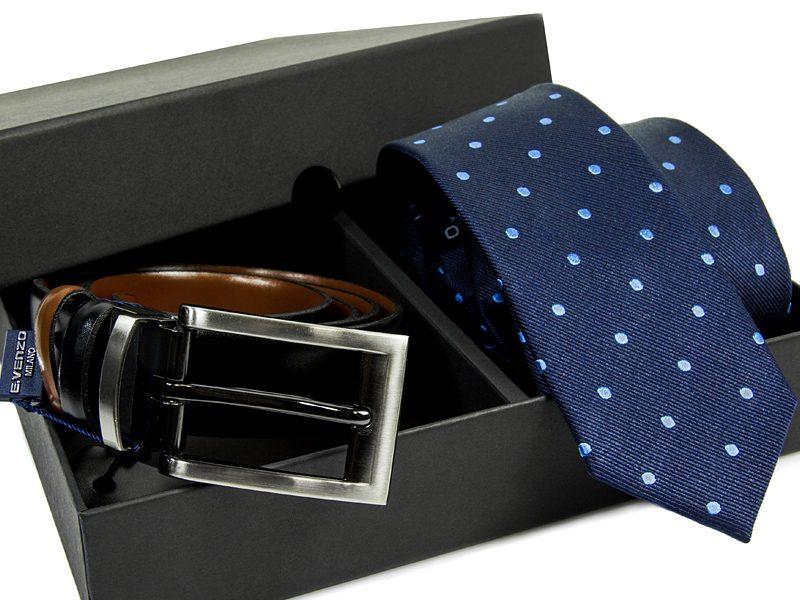 Zestaw Krawat jedwabny + pasek skórzany 575