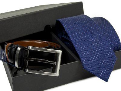 Zestaw Krawat jedwabny + pasek skórzany 579