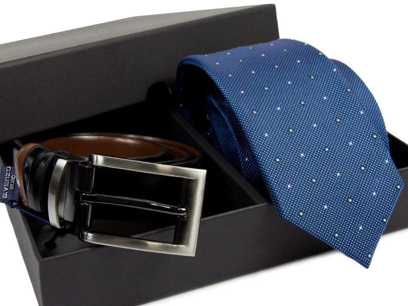 Zestaw Krawat jedwabny + pasek skórzany 596