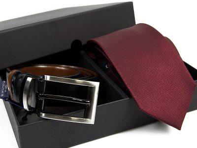 Zestaw Krawat jedwabny + pasek skórzany 598
