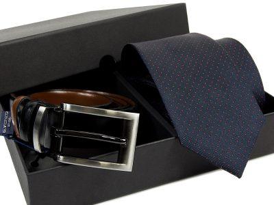 Zestaw Krawat jedwabny + pasek skórzany 600