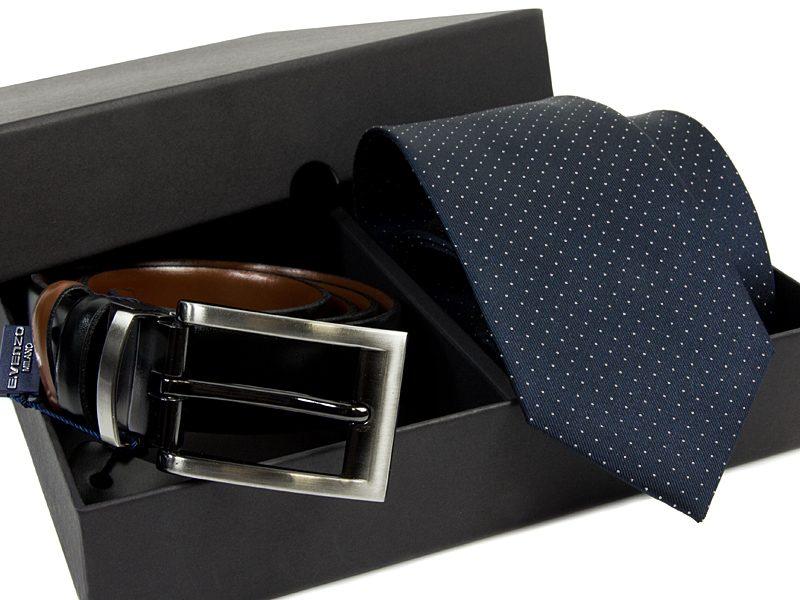 Zestaw Krawat jedwabny + pasek skórzany 601