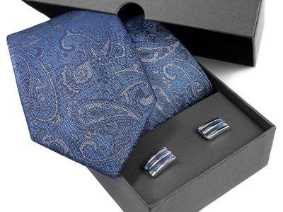 prezent dla męża: Krawat jedwabny + spinki 511