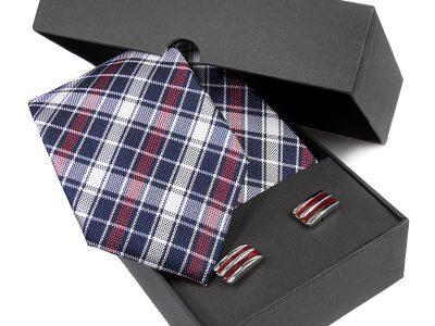 Zestaw Krawat jedwabny + spinki 582B