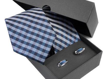 prezent dla męża: Krawat jedwabny + spinki 587B