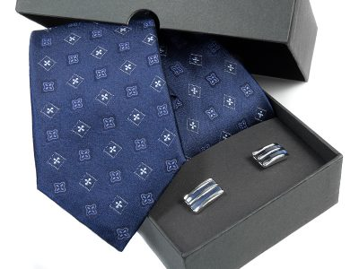 Zestaw Krawat jedwabny + spinki 588B
