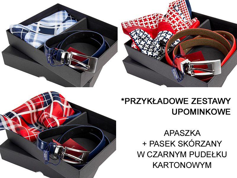 przykładowe zestawy: apaszka + pasek w pudełku