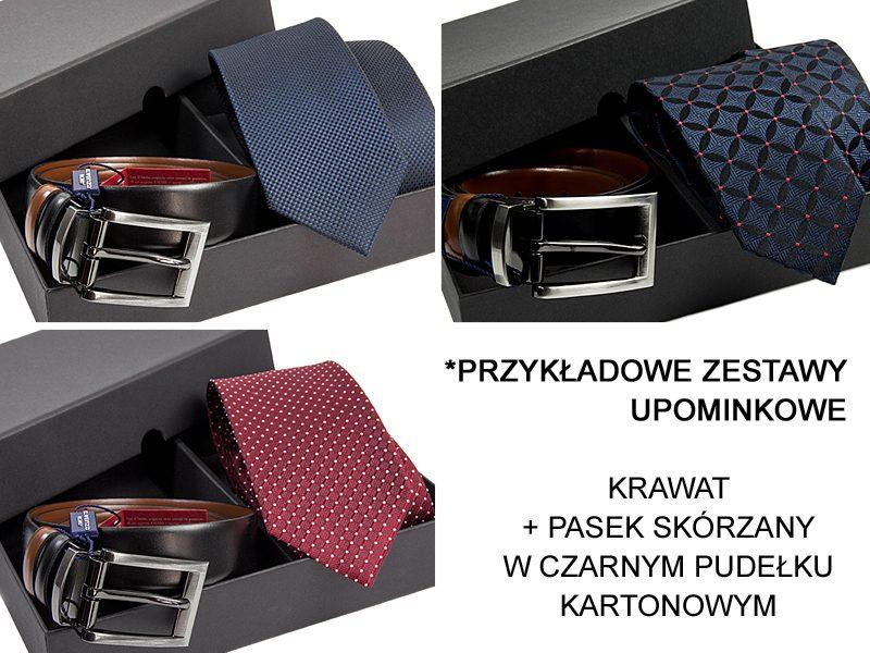 przykładowe zestawy: krawat +pasek + pudełko