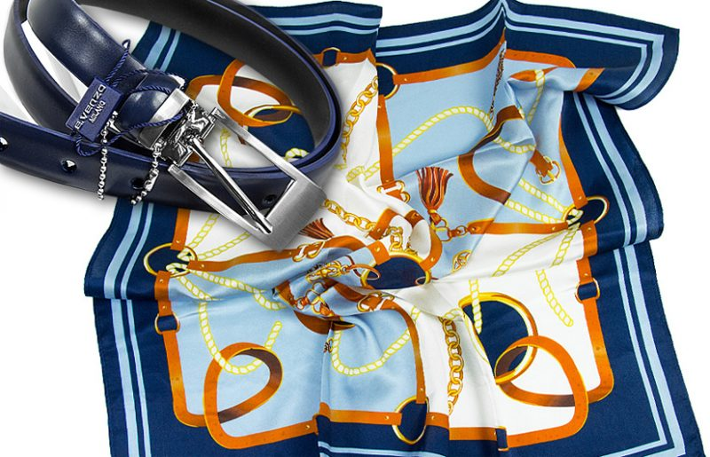 zestaw upominkowy dla żony - apaszka + pasek Belts-blue