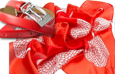 zestaw upominkowy dla żony - apaszka adele + czerwony pasek