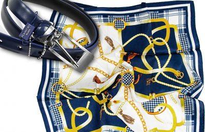 zestaw upominkowy dla żony - apaszka + pasek Belts-pepitko