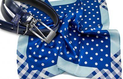 zestaw upominkowy dla żony - apaszka Dots-top-blue + pasek