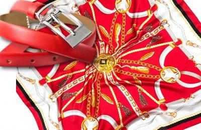 zestaw upominkowy dla żony - apaszka elena-red + pasek