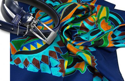 zestaw upominkowy dla żony - apaszka oliv-blue + pasek