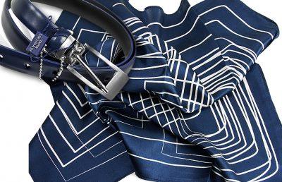 zestaw upominkowy dla żony - apaszka stripes-blue + pasek