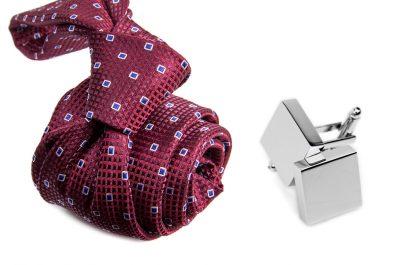 zestaw upominkowy: krawat m695 + spinki + pudełko