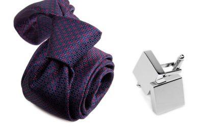 zestaw upominkowy: krawat m702 + spinki + pudełko