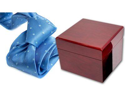 zestaw upominkowy: krawat + pudełko drewniane s576