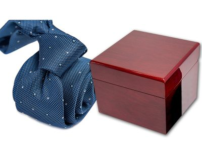 zestaw upominkowy: krawat + pudełko drewniane s596