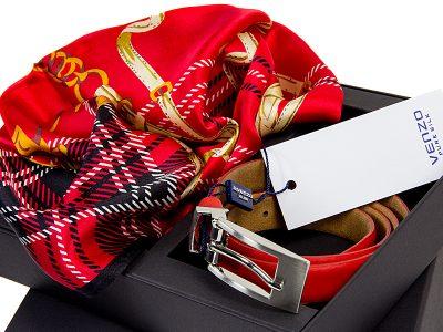 zestaw upominkowy dla żony - apaszka Bur-Eva-Red + czerwony pasek