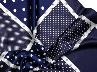 Apaszka jedwabna na prezent - DOTS-NINE-BLUE-