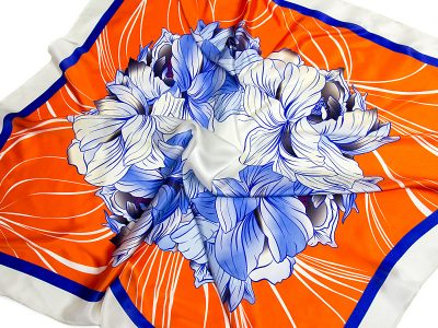 apaszka jedwabna na prezent FLOWER-ROUND-5