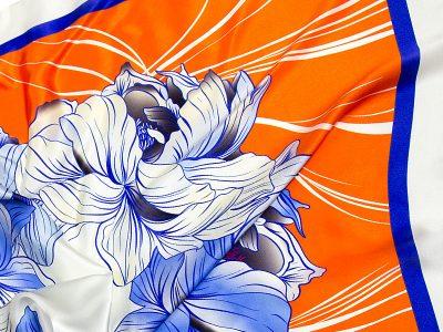 apaszka jedwabna na prezent FLOWER-ROUND-5-
