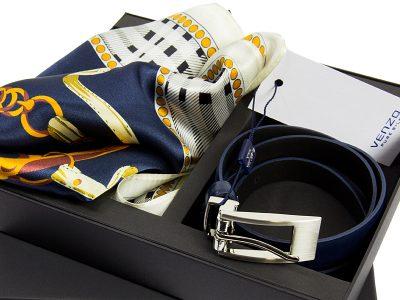 zestaw upominkowy dla żony - Apaszka CLASSIC-ITALY-BLUE z paskiem