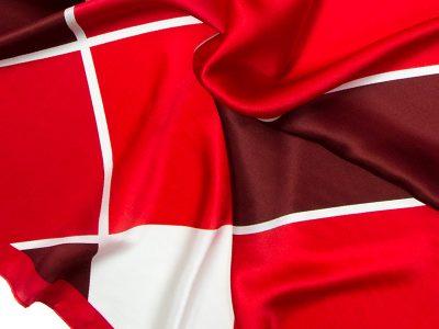 Apaszka jedwabna na prezent - SQUARES-RED-SCARF V2