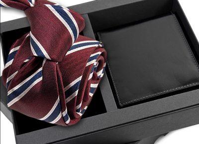 krawat jedwabny 608 z portfelem