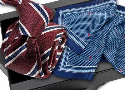 Krawat jedwabny 608 + poszetka jedwabna