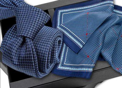 Krawat jedwabny 633 + poszetka jedwabna