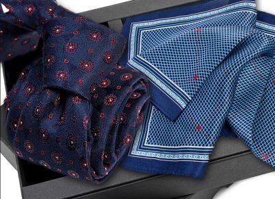 Krawat jedwabny 634 + poszetka jedwabna