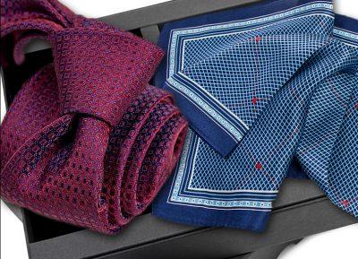 Krawat jedwabny 635 + poszetka jedwabna
