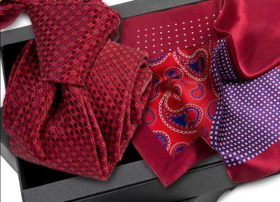 Krawat jedwabny 636 + poszetka jedwabna